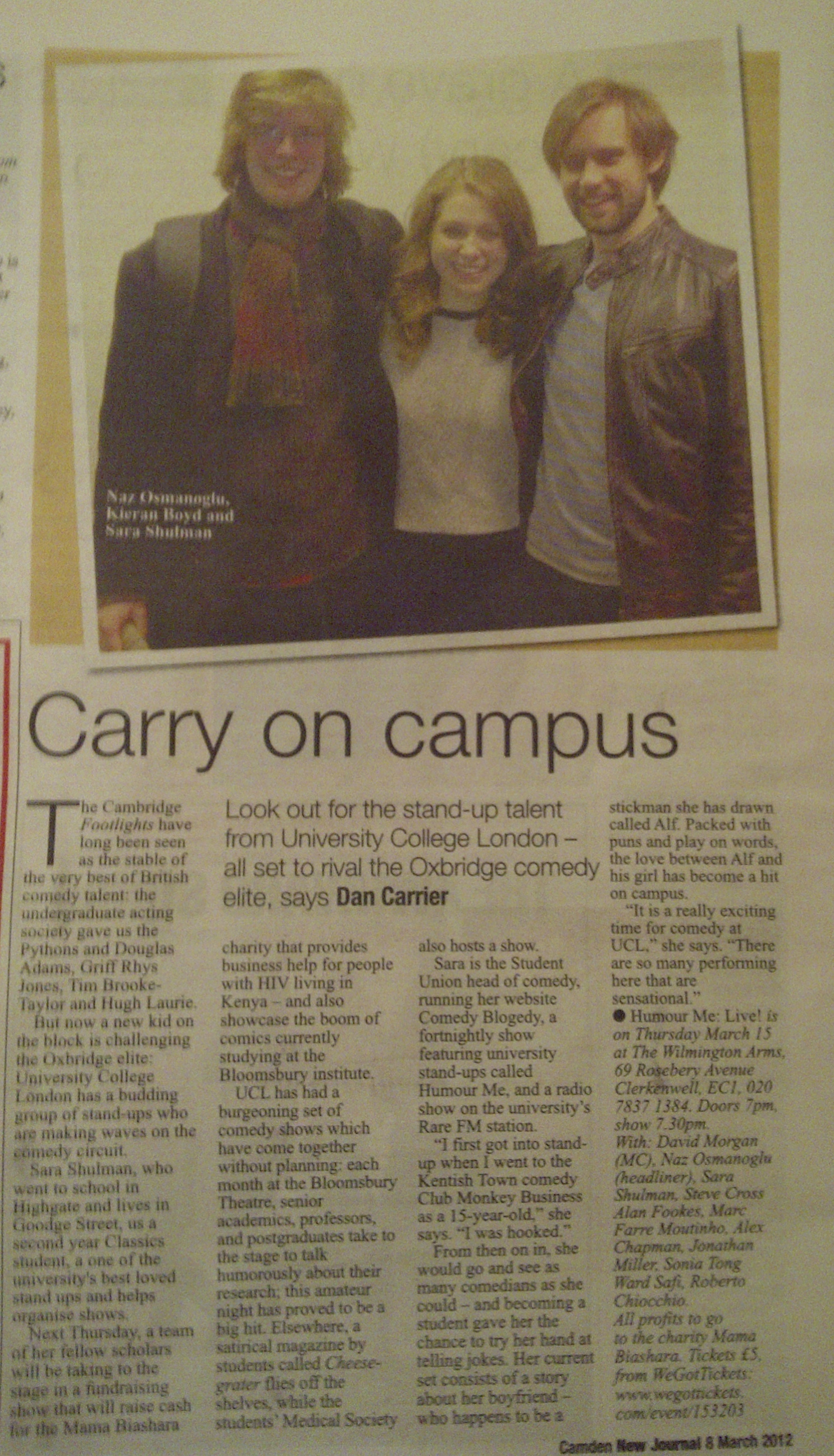 Feature Article in the Camden New Journal and West End Extra